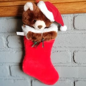 Teddy bear Christmas Stocking Red/plaid bell bow